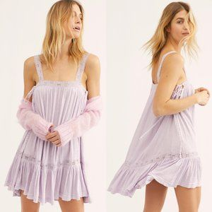 Free People lavender lilac lace up tunic tank top